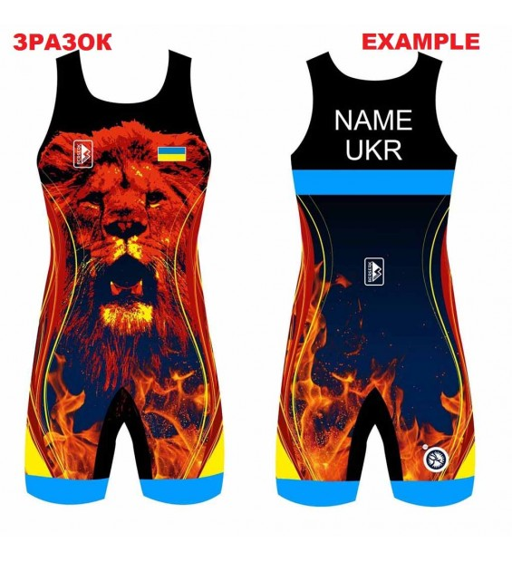 Club wrestling singlet for children with a pattern