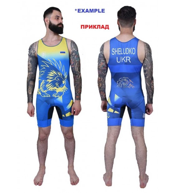 Men's club wrestling singlet with a pattern