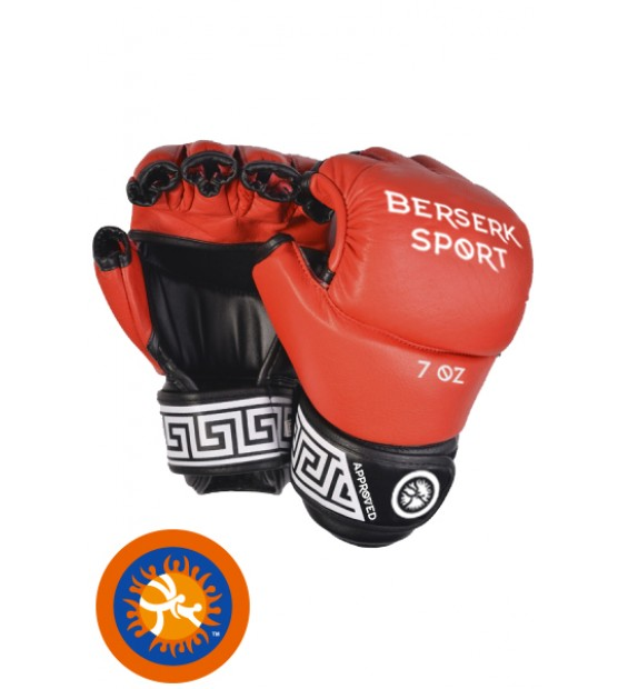 Gloves BERSERK FULL for Pankration approved UWW 7 oz red (Leather)