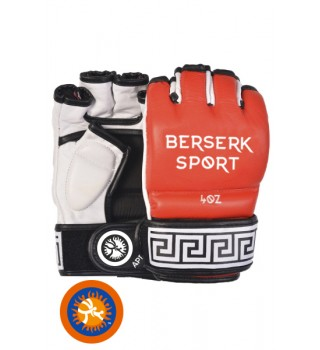 Gloves BERSERK TRADITIONAL for Pankration approved UWW 4 oz red (Leather)