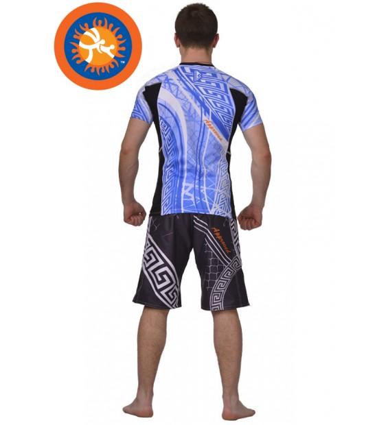 Rashguard Pankration Berserk 3D Approved UWW blue