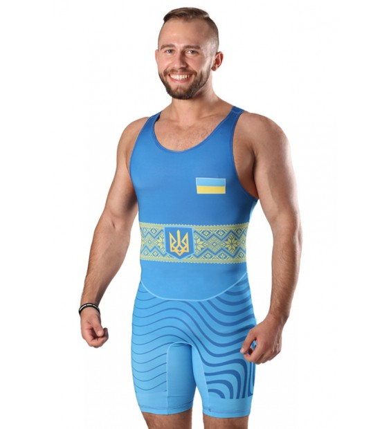 Singlet  Wrestler UKR approved UWW blue