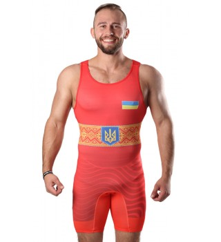 Singlet Wrestler UKR approved UWW red